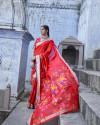 Red color pure jamdani weaving saree with zari work