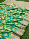 Parrot green color banarasi silk saree with golden zari weaving work