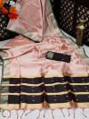 Baby pink color banglori silk weaving saree with zari border and pallu