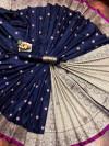 Navy blue color soft banarasi lichi silk saree with gold zari weaving work