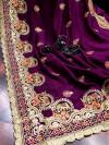 Magenta color vichitra silk embroidery work saree