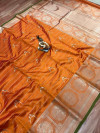 Orange color pure jacquard weaving saree with zari work