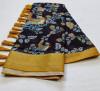 Multi color soft linen cotton saree