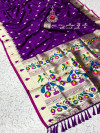 Purple kanchipuram paithani silk saree with zari work