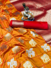 Orange color soft silk saree with golden and silver zari work