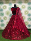 Red color heavy net embroidery sequins work lehenga