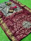Gray color hand bandhej bandhani saree