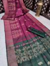 Magenta color pure tussar silk jamdani weaving saree