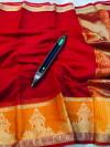 Red color kota doriya silk saree with zari weaving work
