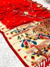 Red kanchipuram paithani silk saree with zari work