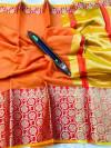 Orange color kota doriya silk saree with zari weaving work