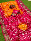 Yellow color hand bandhej bandhani saree
