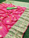 Pink color pure banarasi silk saree with golden zari work