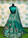 Rama green color heavy banglori satin silk lehenga with printed work