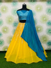 Yellow and blue color georgette lehenga with embroidery and original mirror work