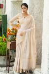 Cream color linen cotton saree with zari weaving embroidered work