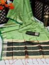 Green color banglori silk weaving saree with zari border and pallu
