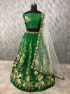 Green color tapeta silk lehenga with zari embroidery and diamond work