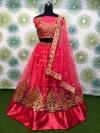 Pink color heavy mono net lehenga with zari embroidery work