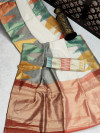Pure Linen saree with colorful temple woven zari border