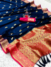 Navy blue color soft silk saree with zari weaving border and pallu