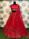Red color heavy net lehenga with badala embroidery work