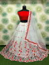 Red color heavy net lehenga with amazing flowers embroidery work