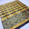 Black and yellow color soft banarasi silk saree