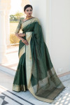 Green color tassar silk weaving saree with silver and golden zari work