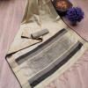 Cream color aasam weaving saree with ikat woven pallu