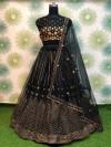Black color heavy net lehenga with badala embroidery work