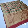 Red and black color soft banarasi silk saree