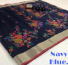 Navy blue color pure jamdani weaving saree with zari work
