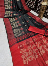 Black color pure tussar silk jamdani weaving saree
