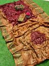 Maroon color hand bandhej bandhani saree