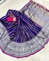 Blue color banarasi silk saree with silver and golden zari work