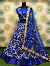Blue color heavy georgette lehenga with embroidery sequins work