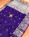 Purple color pure jacquard weaving saree with zari work