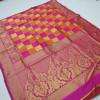 Pink and orange color soft banarasi silk saree