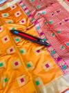 Orange color kanjivaram silk saree with zari and jacquard weaving work
