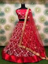 Red color heavy georgette lehenga with embroidery sequins work