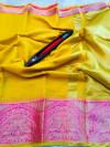 Yellow color kota doriya silk saree with zari weaving work