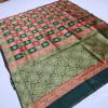 Green and red color soft banarasi silk saree