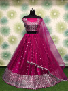 Pink color heavy net lehenga with embroidery sequins work