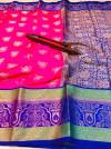 Pink color kanchipuram handloom weaving silk saree with zari work