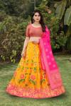 Yellow and pink color banarasi brocade lehenga with banarasi dupatta
