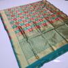 Rama green and red color soft banarasi silk saree