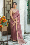 Coffee color linen cotton saree with zari weaving embroidered work