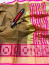 Coffee color kota doriya silk saree with zari weaving work
