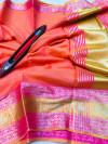 Gajari color kota doriya silk saree with zari weaving work